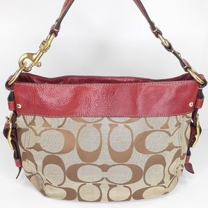 Coach Zoe Signature Canvas Hobo Red AS IS Purse